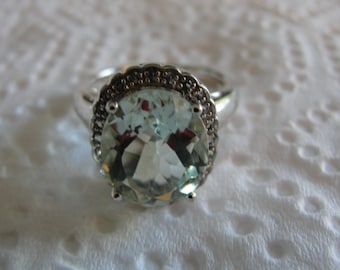 vintage green amythst  with white topaz  platinum over silver ring size 7