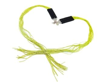 Green Fringe Earrings, Long Tassel Jewelry, Statement Fringe Earrings, Oversized Earrings, Textile Jewelry, Greenery, Green Tassel Earrings