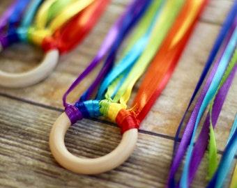 Rainbow ribbon ring, dancing ribbon ring, hand kite, rainbow party, party favors, rainbow toys, Waldorf toys, dancing rings, 4 ring set