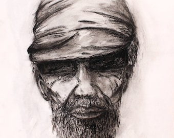 Man in a Hat - Original Charcoal Drawing Sketch