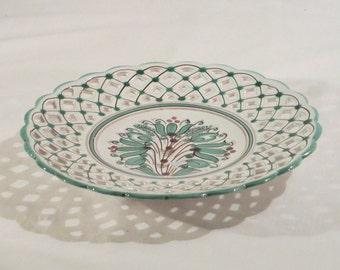 Vintage Modra Slovakia Hand Made Ceramic Pottery Signed, Modra KS 574 2A Green Floral Design