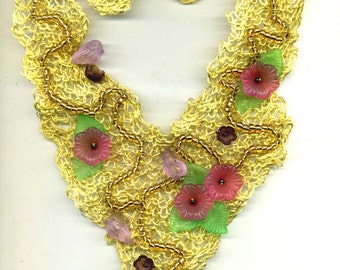 Yellow Beaded & Knitted Necklace