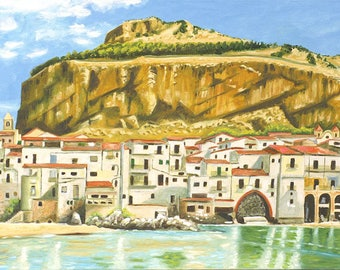 Large painting, painting, painting on canvas, overview, Cefalù, oil on canvas.