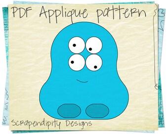 Monster Alien Shirt Applique Template - Monster Applique / DIY Halloween Table Runner / PDF Monster Baby Quilt / Boy Applique Template AP8-D