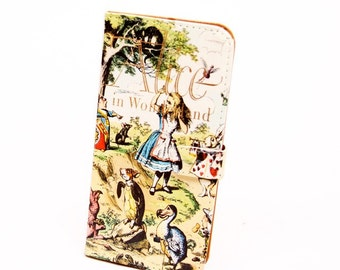Book phone /iPhone flip Wallet case- Alice in Wonderland for iPhone 8, 7, 6, 6 & 7 plus, 5, 5s, 5c 4 Samsung Galaxy S9 S8 S7 S6 Note 4 5 7 8