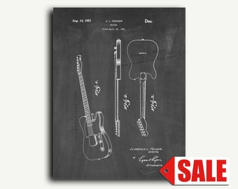 Patent Art - Clarence Fender Telecaster Guitar Patent Wall Art Print Poster