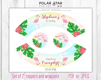 Flamingo - Set of Floral Cute Personalized Cupcake Toppers and Wrappers - tropical, floral, orchid, summer - Printable Digital File WT6
