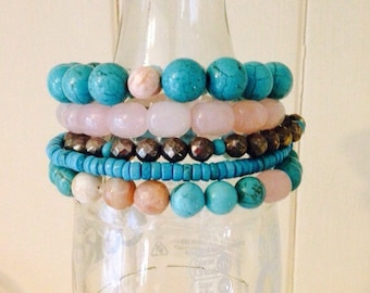 Rose & Turquoise Stacking Bracelet with Quartz, Magnesite, Pyrite and Sunstone gemstones