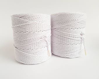 Pure white cotton rope. 3mm Twisted cotton rope. Macrame rope. Macrame cord. 600m cotton cord 3 strand macrame rope. Cotton string