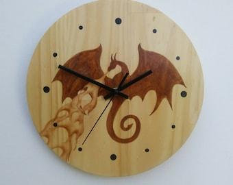 Clock Dragon Hand Painted Pine