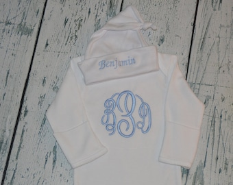 Monogrammed Baby Gown and Cap set Personalized Baby Boy or baby Girl Coming home outfit