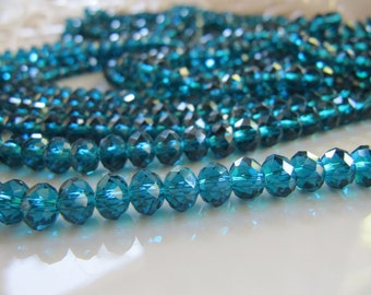 6mm Faceted GLASS Beads in Dark Cyan, Teal Blue Green, 6mm x 4mm Rondelle Abacus, 1 Strand, Approx 95 Pieces