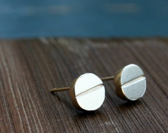 Get Well earrings, Gold stud earrings, 18K gold plated, small gold studs