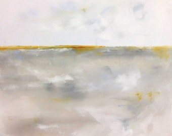 Neutral Abstract Minimalist Landscape Original Painting -Winter Calm 30 x 30