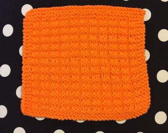Orange dishcloth, knit dishcloth, cotton dishcloth, orange scrubby, soft dishcloth, orange dishrag, cotton dishrag, knit dishrag , handmade