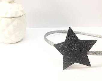 Black glitter star headband