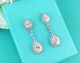Wedding Bridal Earrings, Pear cubic zirconia CZ jewelry, wedding earrings, bridal jewelry, wedding earrings, bridesmaid jewelry, 266838002