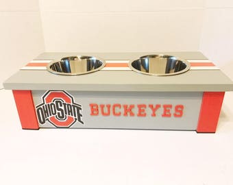 Ohio State Buckeyes,Small Elevated Pet Bowls, Personalized Dog Bowl, Dog Bowl, Pet Furniture, Raised Dog Bowl Feeder,Dog Lover Gift