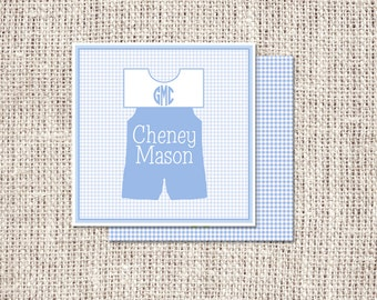 Personalized Enclosure Cards or Labels Square Boy Monogrammed Jon Jon