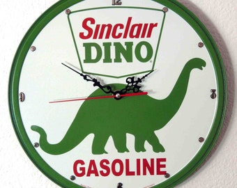 "Sinclair Dino Gasoline Wall Clock - 11-3/4"" Diameter - New"