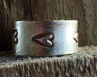 Sterling Silver Heart Ring. Sterling Band Ring with Hearts. Heart Jewelry. Mother's Day Heart Ring. Heart Ring. Handmade Heart Ring.