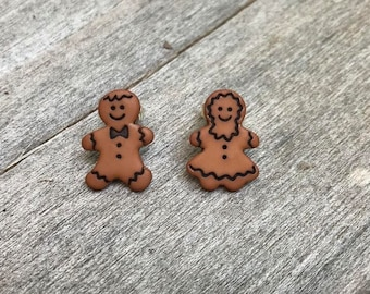 Gingerbread couple stud earrings