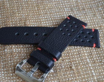 black leather watch Rally strap 24mm