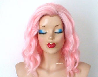 Lace front wig. Pink wig. Pastel wig. Short wig. Beach waves hairstyle wig. Durable heat friendly wig for everyday use or Cosplay.