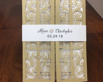Laser Cut Wedding Invitation Beautiful Gate Fold Wedding Die Cut Laser Cut Traditional Religious Wedding Invites Laser Cut Spanish Available