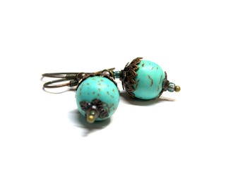 Turquoise Howlite Earrings Turquoise Earrings Copper Earrings Filigree Earrings Top Selling Jewelry Howlite Blue Turquoise