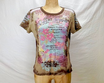 vintage 90s clothing, womens tee shirt, floral tee size L, Vanilla Sugar tee, embellished tee, cap sleeve tee