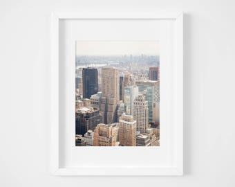 Manhattan photo print - New York City photography - Urban skyline art - NYC photos - Neutral pastel wall decor - Fathers Day gift - New York