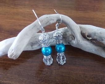 Turquoise earrings and rhinestones