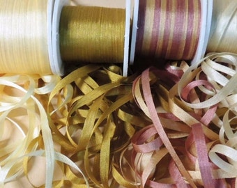 20 yards of 4mm width, gold silk ribbon 5 yards each color