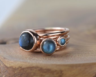 Rose Gold Labradorite Stacking Ring | Rose Gold Ring | Labradorite Ring | Stacking Set | Gold labradorite Ring | Gift for Her | Red Storm