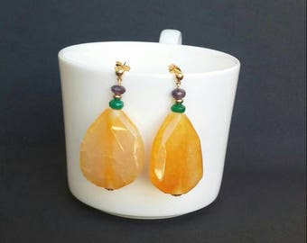 Exclusive!!! Silver Earrings with gold bath and yellow agates, emeralds and amethysts