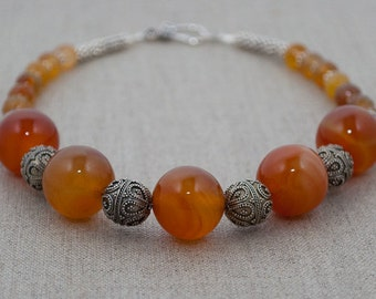 Natural Red Agate and Bali Sterling Silver Bead Necklace