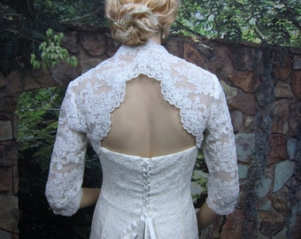 Wedding bolero, lace bolero, wedding jacket, bridal bolero, White lace bolero, 3/4 sleeve, keyhole back, alencon lace