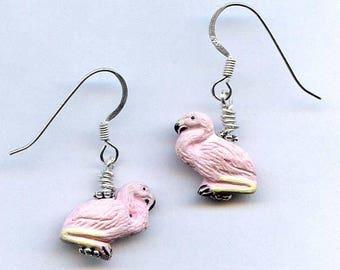 Pink Flamingo Sterling Silver Earrings