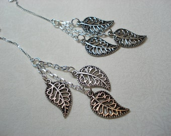 Silver Leaf Trios on Sterling Ear Threads-Threader Earrings or Necklace-FREE SHIPPING To U.S.-