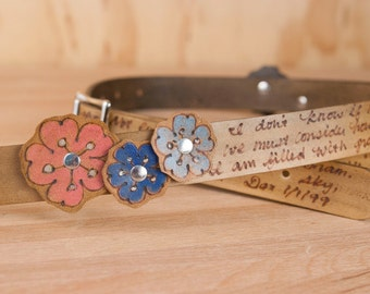 """Personalized Leather Mandolin Strap with Flowers  - 1"""" wide - Handmade Mandolin or Ukulele Strap with Custom Inscription - Antique Brown"""