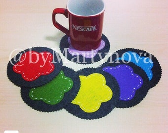 Set of coasters (6). Handmade felt coasters. Handmade gift. Felt coasters. Ready to ship.