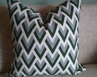Gray pillow cover, Green pillow cover, gray, green, cream, pillow cover, decorative pillow, accent pillow, home decor, pillowcase