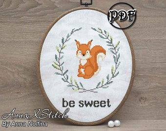 Be sweet Squirrel cross stitch pattern pdf ornament Baby embroidery pattern Woodland animals Forest friends Nursery hoop wall art