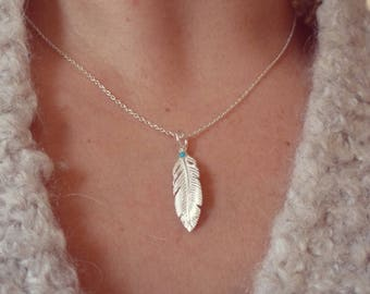 925 sterling silver feather necklace