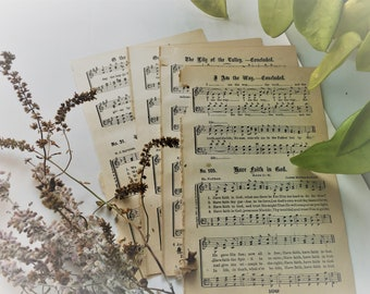 Vintage HYMN Music Pages Paper Ephemera 1800s (25)