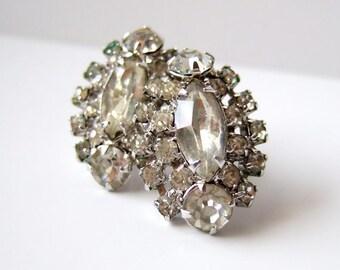 Rhinestone Earrings Screwback Earrings Vintage 60s Earrings 1960s Jewelry Wedding Jewellery