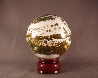Orbicular Ocean Jasper Sphere - 81mm, 700g