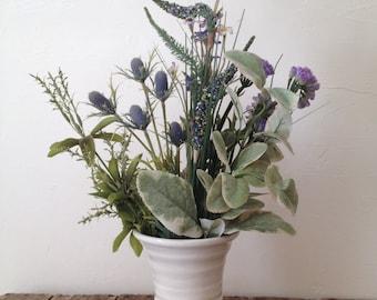 White On White Trumpet Vase