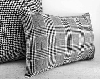Black White Plaid Pillows, Plaid Lumbar Pillows, Black White Lumbar Pillow, 12x18, Black Decorative Pillow, Black White Throw Pillow Cover
